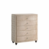 Diamond Golden Beige Velvet Upholstered 5-drawer Chest With Crystal Tufting