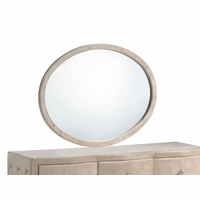 Diamond Golden Beige Velvet Upholstered Oval Dresser Mirror