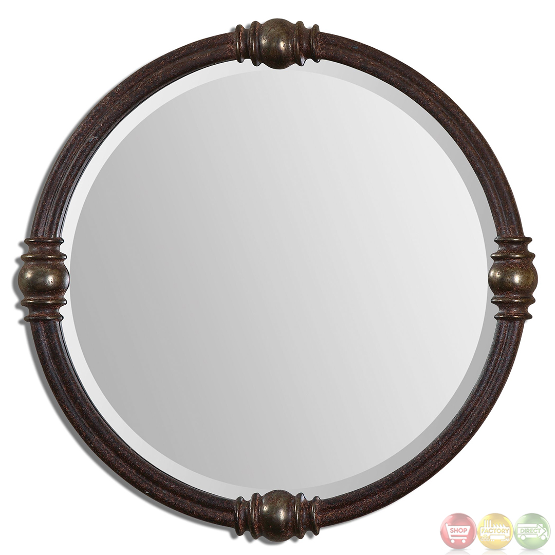 Dinora Traditional Rust Bronze Round Mirror With Sphere Detail Frame 14542