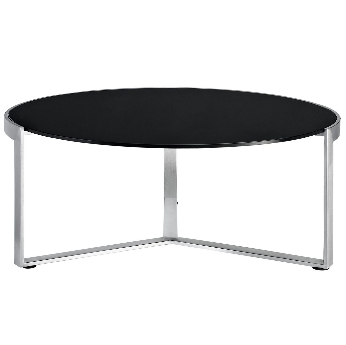 Industrial Glass Top Round Coffee Table W Stainless Steel Base Black