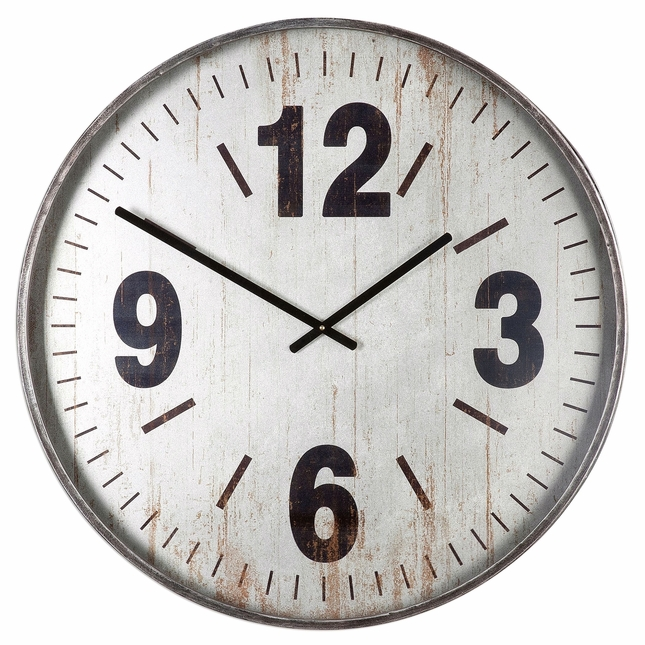 Distressed Nautical Marino Oversized Wall Clock In Brushed Silver Metal Frame