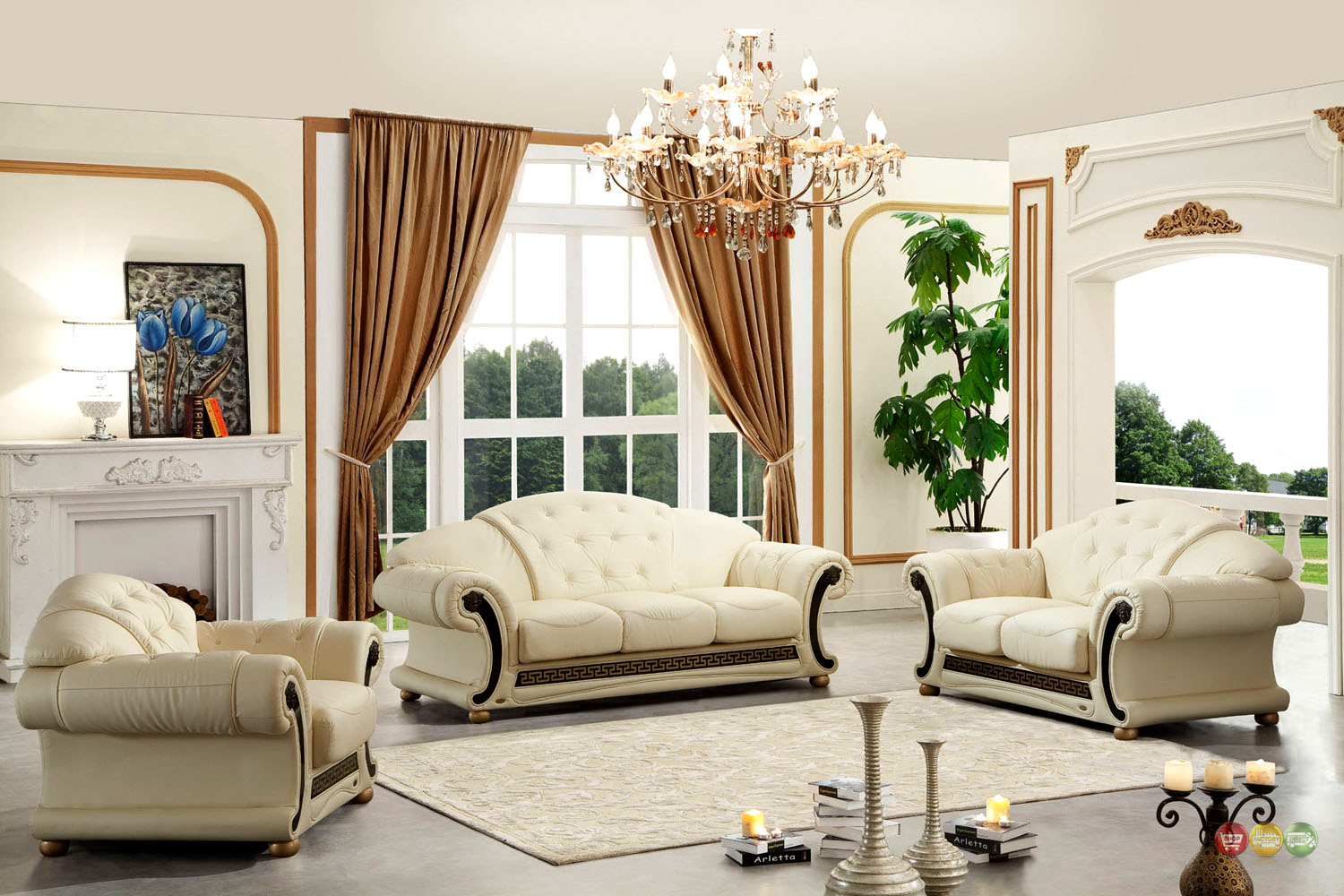 Versace Cleopatra Cream Italian Top Grain Leather Beige Living Room Sofa Set - Versace Cleopatra Cream Italian Top Grain Leather Beige Living