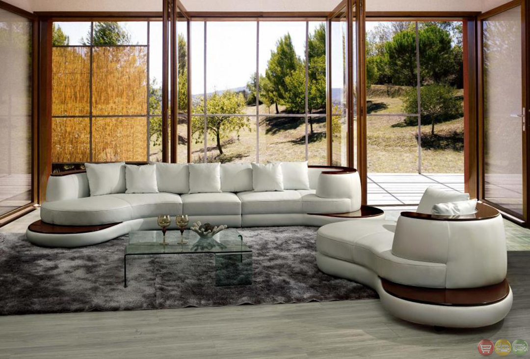 Divani Casa Rodus Contemporary White Leather Sectional Sofa
