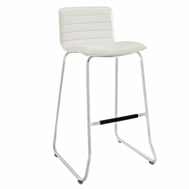 Dive Contemporary Upholstered Bar Stool With Aluminum Base, White