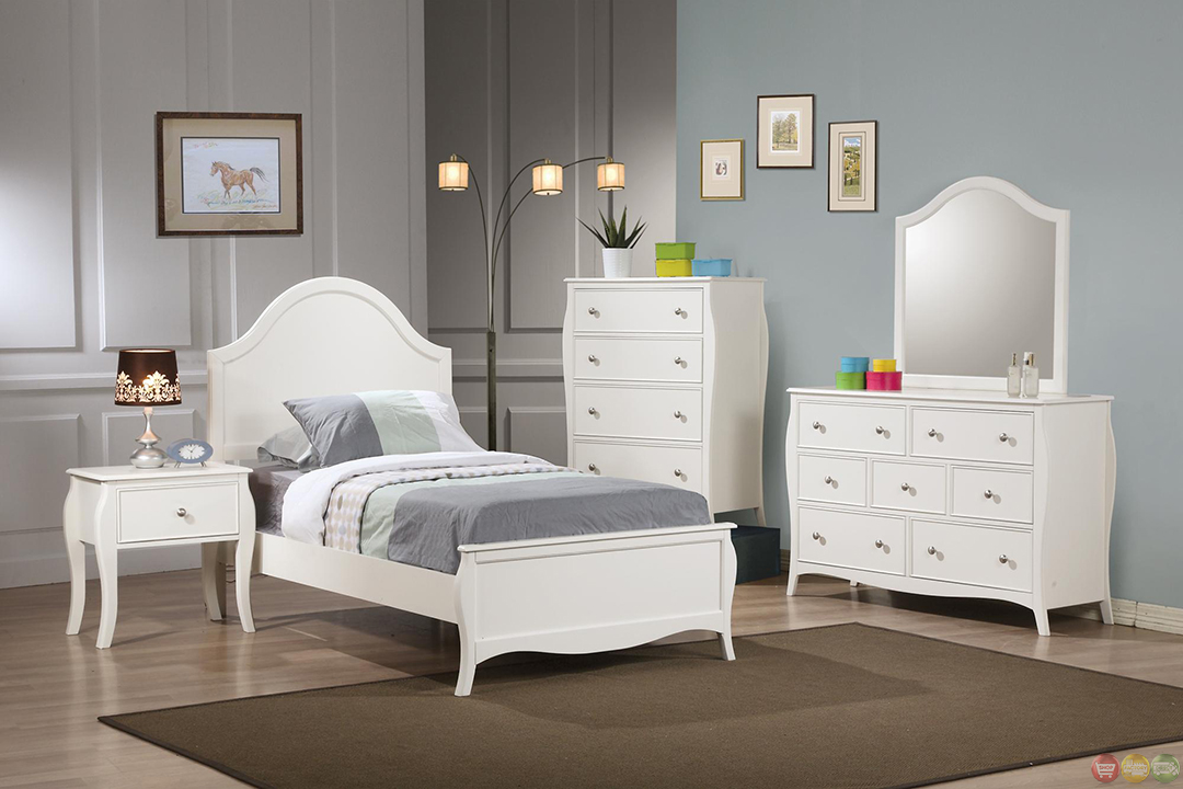 dominique white finish twin youth panel bedroom set