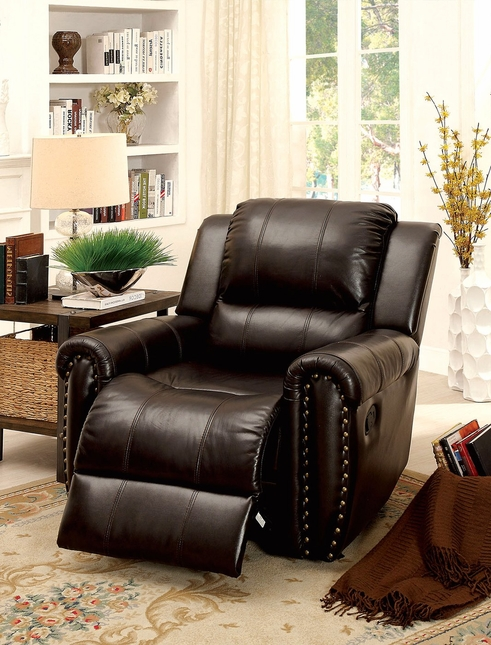 Dorset Traditional Brown Recliner In Top Grain Leather