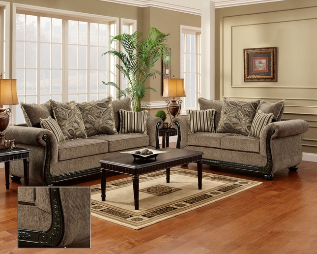 Dream Java Chenille Sofa & Love Seat Living Room Furniture set Wood Trim