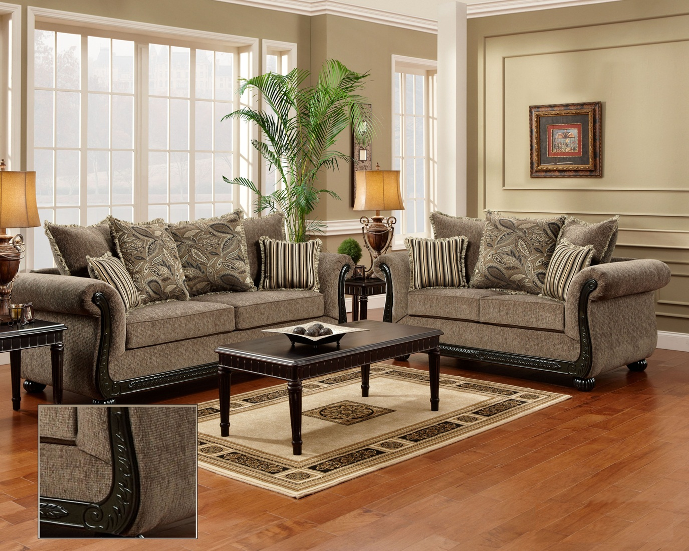 Dream java chenille sofa love seat living room furniture set wood trim