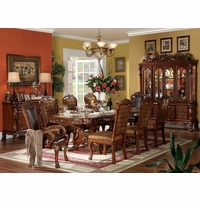 "Dresden 5pc Antique Style 76""-108"" Double Pedestal Dining Table In Cherry Oak"