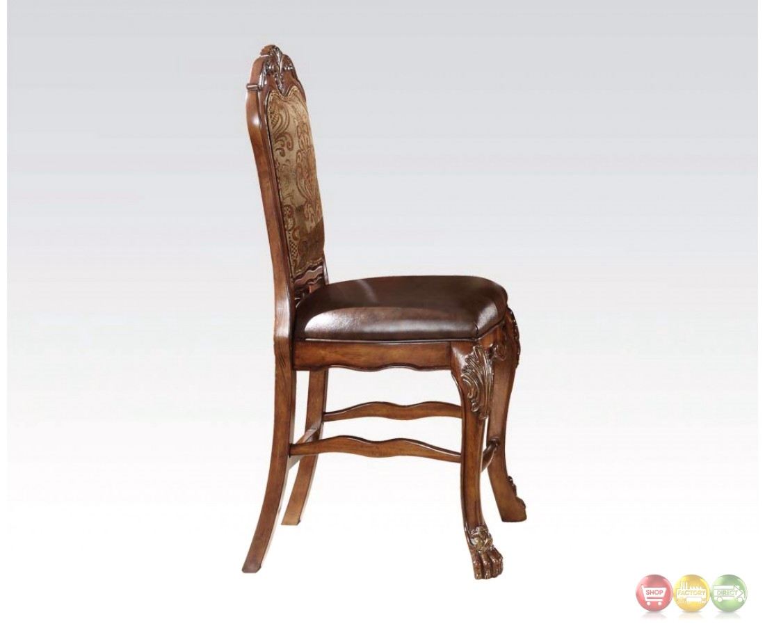 Set Of 2, Dresden Ornate Antique Style Counter Height Chair In Cherry Oak