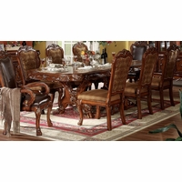 "Dresden Antique Style 76""-108"" Double Pedestal Dining Table In Cherry Oak"