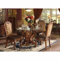 "Dresden Carved Wood 5pc 54"" Round Glass Top Dining Table Set In Cherry Oak"