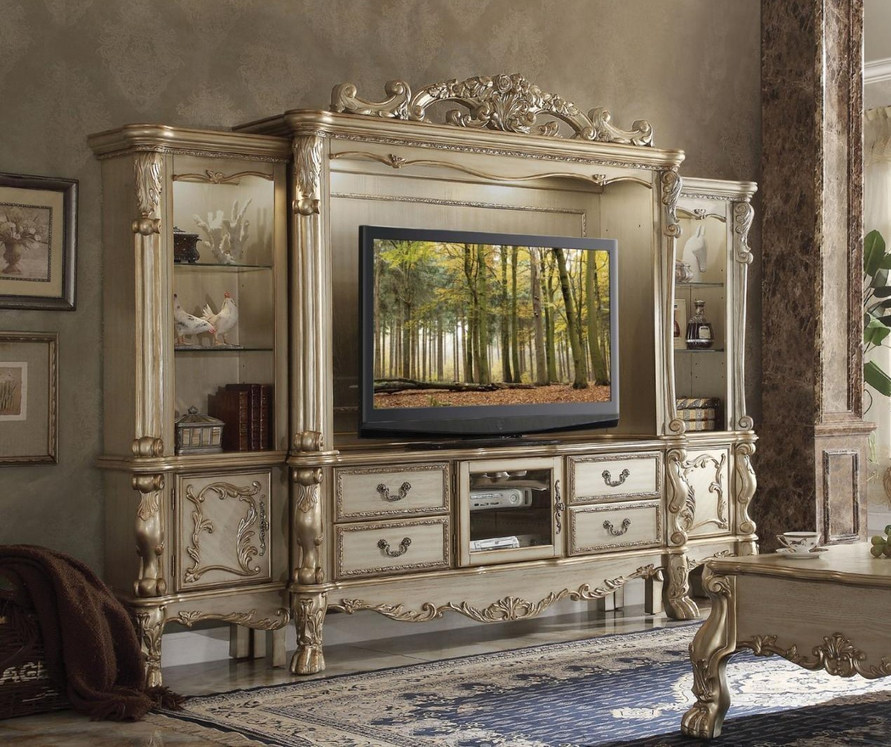 Dresden Carved Wood 68 Tv Entertainment Wall Unit In