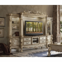 Dresden Carved Wood 68� TV Entertainment Wall Unit In Antique Gold Patina