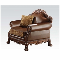 Dresden Formal Brown Faux Leather & Gold Fabric Chair In Cherry Oak Finish