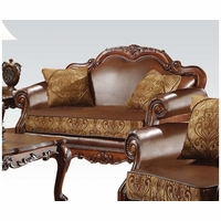 Dresden Formal Brown Faux Leather & Gold Fabric Loveseat In Cherry Oak Finish