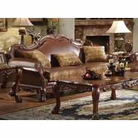 Dresden Formal Brown Faux Leather & Gold Fabric Sofa In Cherry Oak Finish