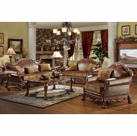 Dresden Formal Brown Faux Leather & Gold Fabric Sofa & Loveseat In Cherry Oak