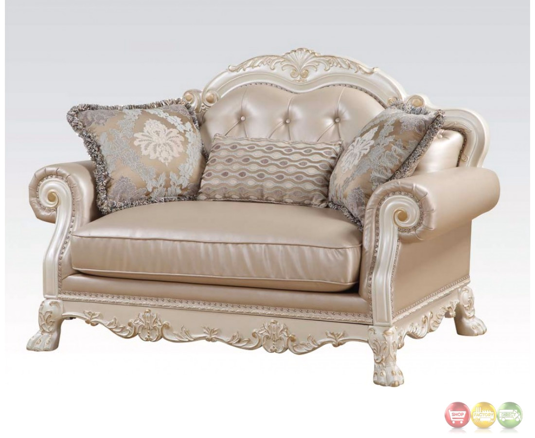 dresden formal button tufted sofa loveseat in antique