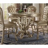"Dresden Formal Carved Wood 48"" Counter Height Dining Table In Gold Patina"