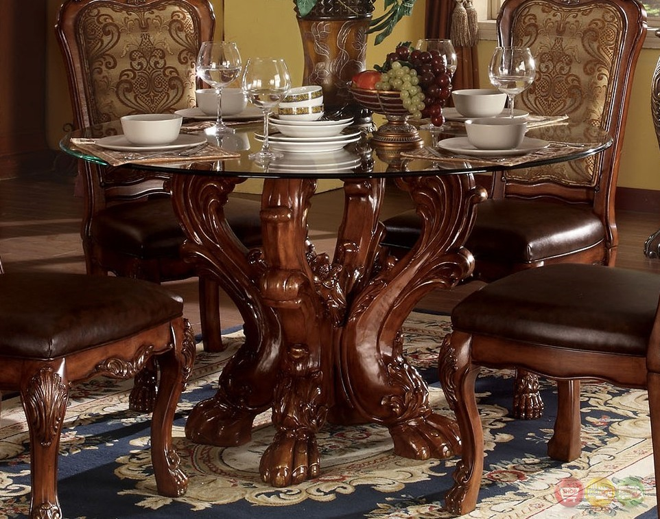 Dresden Formal Carved Wood 54 Round Glass Top Dining Table In Cherry Oak