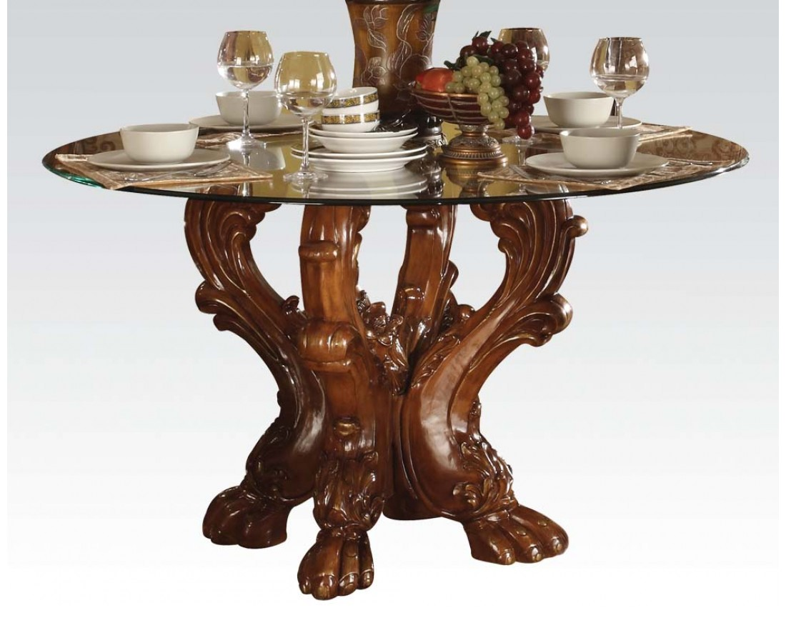Formal Carved Wood 54 Round Glass Top Dining Table In Cherry Oak. Full resolution‎  portraiture, nominally Width 1100 Height 900 pixels, portraiture with #693D25.