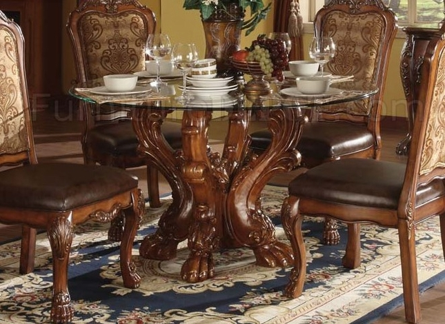Dresden Formal Carved Wood 54 Quot Round Glass Top Dining