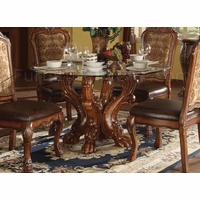 "Dresden Formal Carved Wood 54"" Round Glass Top Dining Table In Cherry Oak"