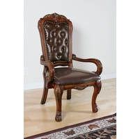 Dresden High Back Upholstered Executive Arm Chair In Cherry Oak Finish