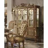 Dresden Luxury Ornate Formal China Cabinet In Antique Gold Patina