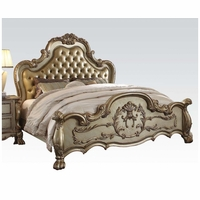 Dresden Luxury Upholstered California King Bed In Antique Gold Patina