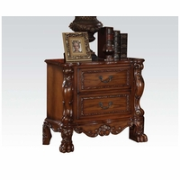 Dresden Ornate Antique Style 2-Drawer Nightstand In Cherry Oak Finish