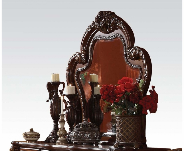 Dresden Ornate Antique Style Carved Beveled Mirror In