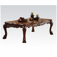 Dresden Ornate Antique Style Wood Top Coffee Table In Cherry Oak