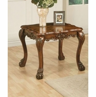 Dresden Ornate Antique Style Wood Top End Table In Cherry Oak