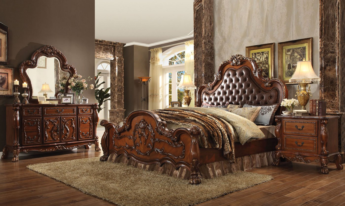 Dresden Ornate Upholstered 4pc King Bedroom Set In