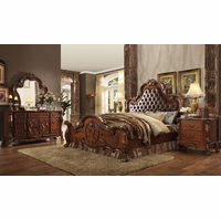 Dresden Ornate Upholstered 4pc Queen Bedroom Set In Traditional Cherry Oak
