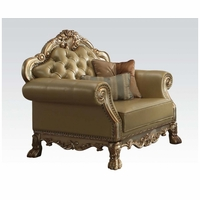 Dresden Traditional Bone Faux Leather Chair With Gold Patina Accents