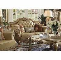 Dresden Traditional Bone Faux Leather Loveseat With Gold Patina Accents
