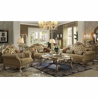Dresden Traditional Bone Faux Leather Sofa & Loveseat In Gold Patina