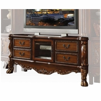 Dresden Traditional Carved Wood TV Stand In Antique Cherry Oak