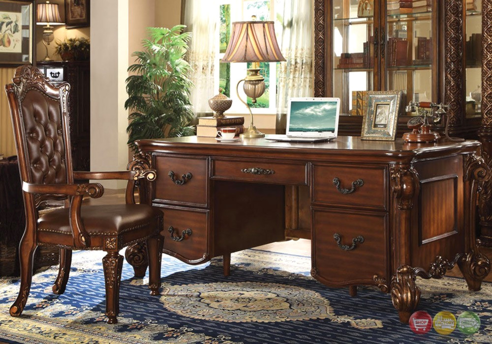 Dresden Traditional Luxury 5 Drawer Executive Desk In Rich