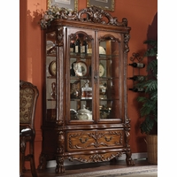 Dresden Traditional Ornate Curio Cabinet in Antique Cherry Oak