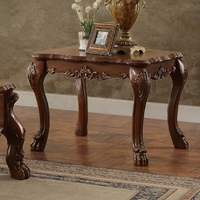 Dresden Traditional Ornate End Table In Antique Cherry Oak