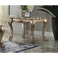 Dresden Traditional Ornate End Table In Antique Gold Patina