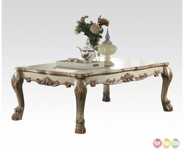 Traditional Wood Top Ornate Coffee Table In Antique Gold Patina