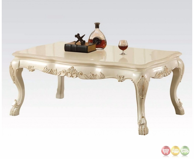Traditional Wood Top Ornate Coffee Table In Antique Pearl White