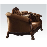 Dresden Victorian Tufted Loveseat In Gold Velvet & Cherry Finished Carved Wood
