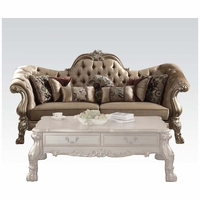 Dresden Victorian Tufted Sofa In Champagne Velvet & Gold Patina Carved Wood