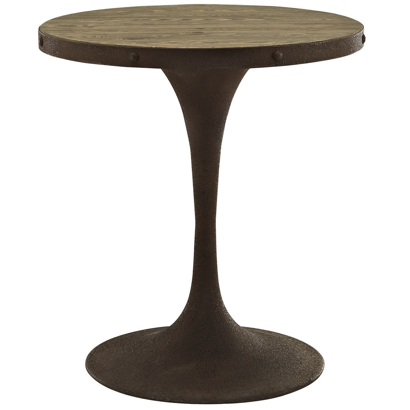 drive rustic 28 round wood top dining table w iron pedestal base
